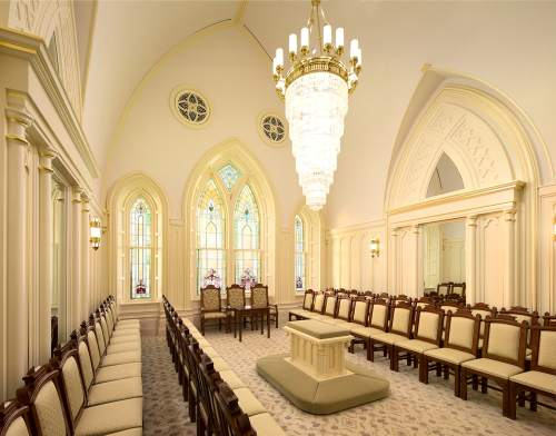 Photo courtesy The Church of Jesus Christ of Latter-day Saints  About 80 stained-glass windows survived the fire. Motifs in the salvaged windows inspired new designs in the woodwork and windows of the temple.