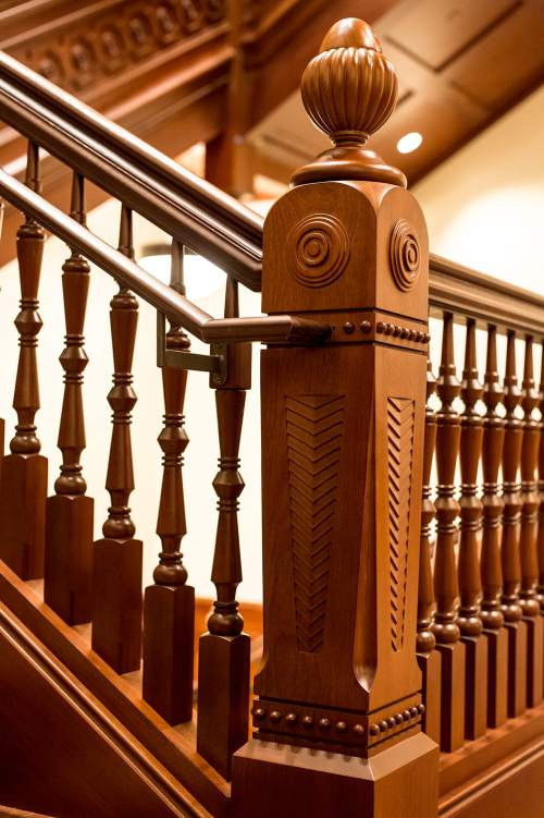 Photo courtesy The Church of Jesus Christ of Latter-day Saints  The tabernacle's newel post survived the fire. Replicas are now part of staircases in the temple.  Other design features in the temple came from other pioneer buildings that William Folsom designed, such as the Manti Temple and the Assembly Hall on Temple Square.