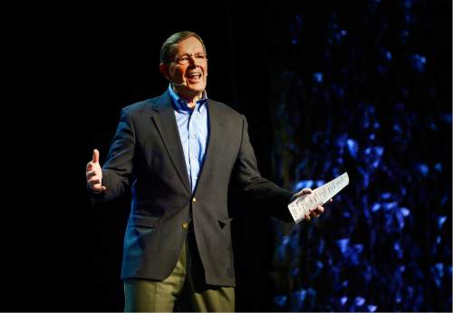 Scott Sommerdorf   |  The Salt Lake Tribune Former Utah Governor Mike Leavitt speaks at the RootsTech conference at the Salt Palace, Saturday, February 6, 2016.