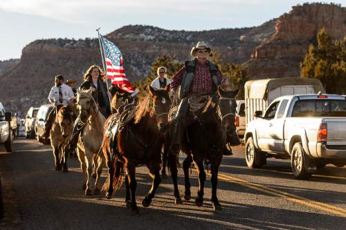 "Trent Nelson  |  The Salt Lake Tribune A riderless horse leads a procession following the funeral for Robert ""LaVoy"" Finicum, in Kanab, Friday February 5, 2016. Finicum was shot and killed by police during a January 26 traffic stop. Finicum was part of the armed occupation of an Oregon wildlife refuge."