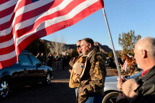 "Trent Nelson  |  The Salt Lake Tribune The procession after the funeral for Robert ""LaVoy"" Finicum, in Kanab, Friday February 5, 2016. Finicum was shot and killed by police during a January 26 traffic stop. Finicum was part of the armed occupation of an Oregon wildlife refuge."