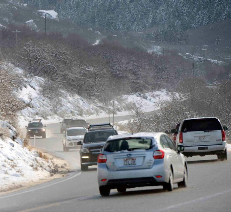 Al Hartmann  |  The Salt Lake Tribune Traffic was brisk in Little Cottonwood Canyon Friday Feb. 5 after an overnight storm dropped some snow at the resorts. Phase 2 of the Mountain Accord process is being launched.  It's emphasis will be to deal with existing traffic problems in the two Cottonwood canyons