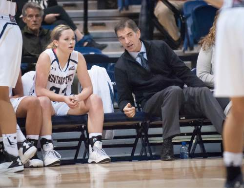 NBA Hall of Famer John Stockton assists the Montana St coaching staff during an exhibition basketball game against Montana Tech Wednesday, Nov. 4, 2015 in Bozeman, Mont. (Kelly Gorham, Montana State University.