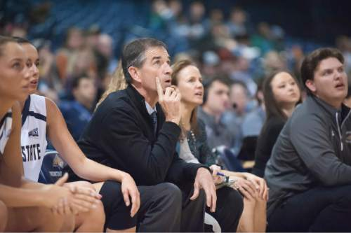 John Stockton, assistant women's basketball coach at Montana State University, watches during an exhibition basketball game against Montana Tech Wednesday, Nov. 4, 2015 in Bozeman, Mont. (Kelly Gorham, Montana State University)