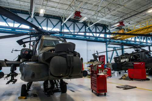 Chris Detrick  |  The Salt Lake Tribune AH-64 Apache helicopters at the Utah National Guard aviation armory in West Jordan Thursday February 4, 2016.