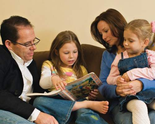 photo courtesy The Church of Jesus Christ of Latter-day Saints  An LDS family reads together.