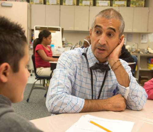 Rick Egan     The Salt Lake Tribune  Mohsen Ghaffari, a fifth-grade teacher at North Star Elementary School, has won teacher of the year.  Friday, September 5, 2014