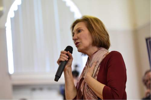Republican presidential candidate Carly Fiorina speaks during a town hall meeting at the Historical Society of Cheshire County in Keene, N.H., Sunday, Feb. 7, 2016. (Kristopher Radder/The Brattleboro Reformer via AP) MANDATORY CREDIT