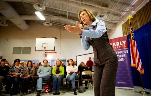 Republican presidential candidate Carly Fiorina speaks at a campaign event at Maple Avenue Elementary School Saturday, Feb. 6, 2016, in Goffstown, N.H. (AP Photo/David Goldman)