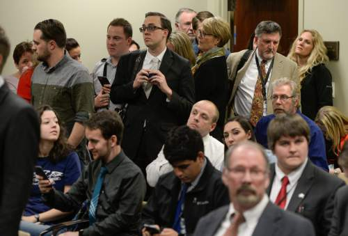 Francisco Kjolseth | The Salt Lake Tribune People crowd a hearing for Senator Mark Madsen's medical marijuana bill SB73 at the Utah Capitol. Senate Judiciary, Law Enforcement and Criminal Justice devoted its entire committee hearing to the bill and the Medical Cannabis Act.