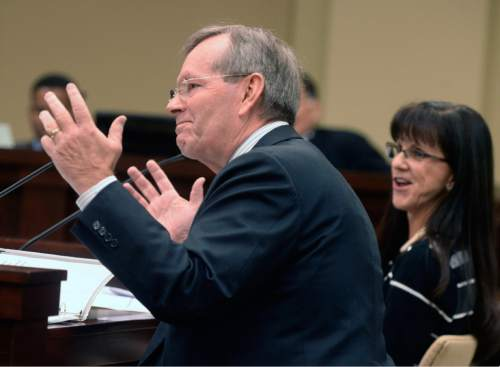 Al Hartmann  |  The Salt Lake Tribune  Former Utah Governor Mike Leavitt speaks in favor of funding the Foster Care Foundation at the Social Services Appropriations Subcommittee Monday Feb. 8.