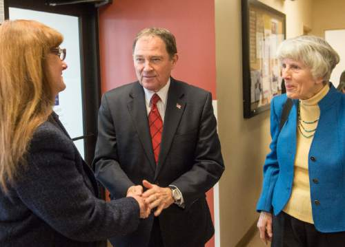 Rick Egan  |  The Salt Lake Tribune  Mary Hogle greets Gov. Gary Herbert as he visits the Fourth Street Clinic to kick off the 2016 Pamela Atkinson Homeless Trust Fund tax season donation campaign, Thursday, February 4, 2016.