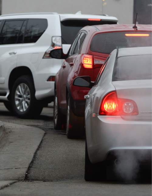 "Francisco Kjolseth | The Salt Lake Tribune A sizable source of emissions come from idling tailpipes as drivers line up for their morning coffee. People  ""warming up"" their cars, a widespread practice in Utah is also a problem. Last month Salt Lake City police found 600 unattended, idling vehicles in the space of three hours, but it's completely unnecessary. For modern cars, all idling does is release a lot of emissions."