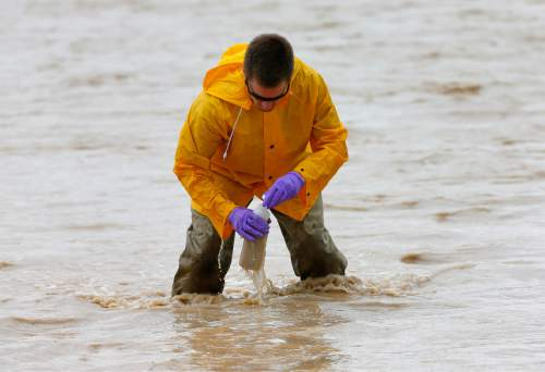 Hydrologic Technician Ryan Parker gathers water samples from the San Juan River, Tuesday, Aug. 11, 2015, in Montezuma Creek, Utah. A spill containing lead and arsenic from the abandoned Gold King Mine in Silverton, Colo., leaked into the Animas River, which flows into the San Juan River in southern Utah, on Aug. 5. The spill was caused by a mining and safety team working for the EPA.  (AP Photo/Matt York)