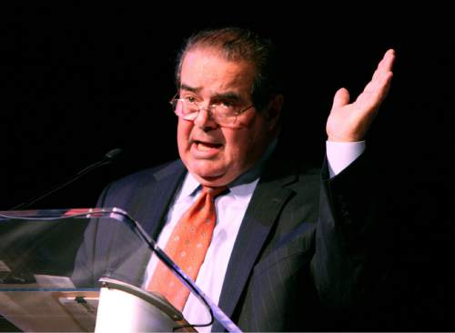"""SCALIA Supreme Court Justice Antonin Scalia gives the Keynote address for the conference """"Freedom and the Rule of Law"""" at Utah State University.  Scott Sommerdorf / The Salt Lake Tribune"""