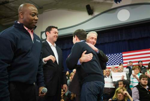 Sen. Tim Scott, R-S.C., from left, Rep. Jason Chafetz, R-Utah, and Rep. Trey Gowdy, R-S.C.,  greet Republican presidential candidate, Sen. Marco Rubio, R-Fla., right, as they introduce him at a campaign event at Gilbert H. Hood Middle School Friday, Feb. 5, 2016, in Derry, N.H. (AP Photo/David Goldman)