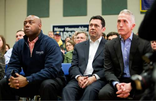 Sen. Tim Scott, R-S.C., from left, Rep. Jason Chafetz, R-Utah, and Rep. Trey Gowdy, R-S.C.,  watch as Republican presidential candidate, Sen. Marco Rubio, R-Fla., speaks at a campaign event at Gilbert H. Hood Middle School Friday, Feb. 5, 2016, in Derry, N.H. (AP Photo/David Goldman)