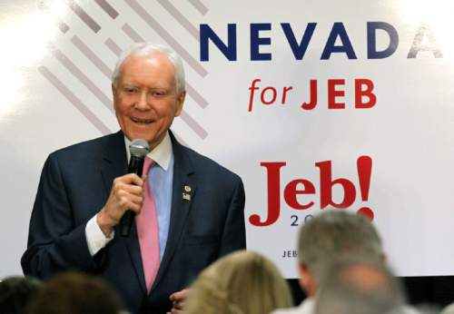 Utah Republican Sen. Orrin Hatch announces his support for Republican presidential candidate Jeb Bush during a campaign stop, Wednesday, Aug. 12, 2015, in Reno, Nev. (AP Photo/Lance Iversen)