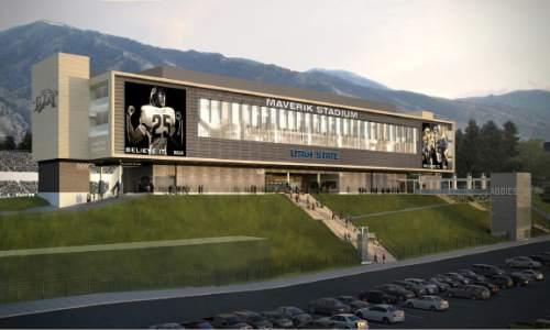 Rendering of the Utah State football Maverik Stadium renovations.  Courtesy: Utah State Athletics