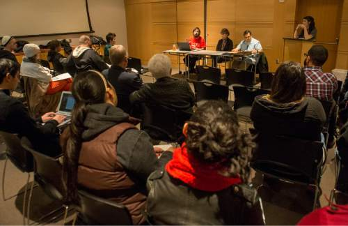 Rick Egan  |  The Salt Lake Tribune  Greg Lucero speaks during a panel discussion titled: Utah Against Police Brutality, hosted by Utah Against Police Brutality.  Deeda Seed, and Michael Clára were also on the panel, at the Salt Lake City library, Saturday, February 13, 2016.