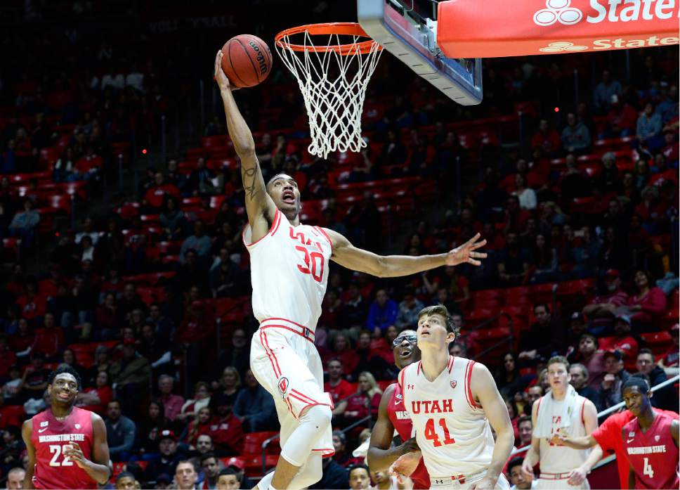 Scott Sommerdorf      The Salt Lake Tribune Utah Utes Gabe Bealer scores an easy layup late in the game as Utah's bench came in for most of the second half and Utah defeated Washington State 88-47, Sunday, February 14, 2016.