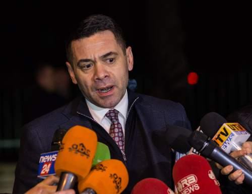 Former Economy Minister of Albania, Arben Ahmetaj, speaking in Tirana Friday, Feb. 5 2016. Arben Ahmetaj was nominated by Albanian Prime Minister Edi Rama as new finance minister to replace Shkelqim Cani, giving no reason on the move, Tuesday, Feb. 16, 2016. Ahmetaj needs to give better results in lowering the country's public debt reaching more than 73 percent from 62 percent of GDP in 2013 and also better money collection in taxation and customs. (AP Photo/Hektor Pustina)