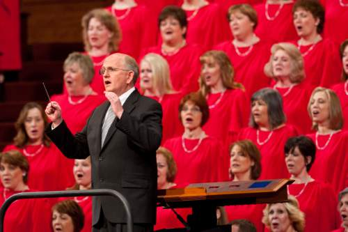 Mack Wilberg directs the Mormon Tabernacle Choir during the morning session of the 180th Semiannual General Conference of The Church of Jesus Christ of Latter-day Saints Saturday, April 3, 2010.