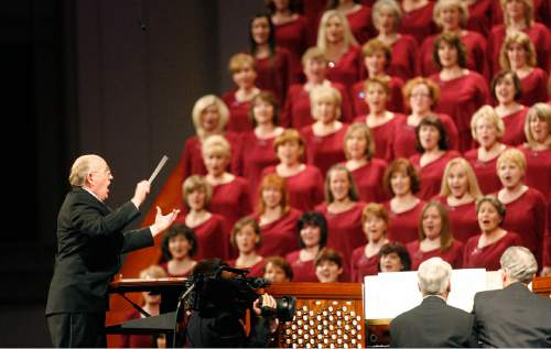 "Scott Sommerdorf  |  The Salt Lake Tribune Music Director Mack Wilberg directs the Mormon Tabernacle Choir in ""High On A Mountaintop"" at the end of the morning session of the 181st Annual LDS General Conference, Saturday, April 2nd, 2011."