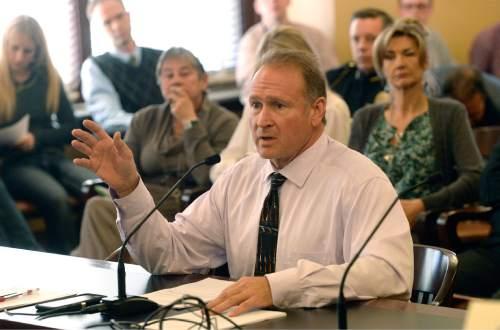 Al Hartmann  |  The Salt Lake Tribune Senator Mark Madsen, R-Saratoga Springs once again discusses medical marijuana legislation before the  Health and Human Services Interim Committee Wednesday Oct. 21 at the Utah State Capitol.