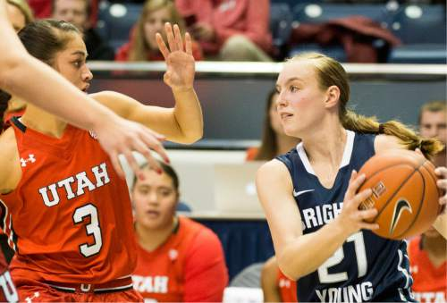 Rick Egan  |  The Salt Lake Tribune  Brigham Young Cougars guard Lexi Eaton Rydalch (21) is guarded by Utah Utes forward Malia Nawahine (3) in basketball action, BYU vs. The Univeristy of Utah,  in the Marriott Center, Saturday, December 12, 2015.