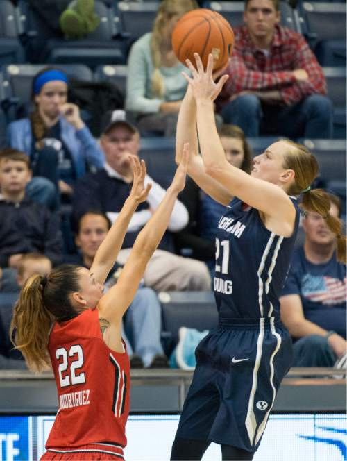 Rick Egan  |  The Salt Lake Tribune  Brigham Young Cougars guard Lexi Eaton Rydalch (21) shoots over Utah Utes guard Danielle Rodriguez (22), in basketball action, BYU vs. Utah, in the Marriott Center, Saturday, December 12, 2015. Rydalch lead all scorers with 29 points.