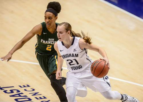 Trent Nelson  |  The Salt Lake Tribune Brigham Young Cougars guard Lexi Eaton (21) drives with San Francisco Lady Dons guard Taj Winston (2) defending, as BYU hosts San Francisco, NCAA women's basketball at the Marriott Center in Provo, Saturday January 3, 2015.
