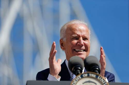Vice President Joe Biden speaks after touring the Port of New Orleans to commemorate the seventh anniversary of the American Recovery and Reinvestment Act in New Orleans, Wednesday, Feb. 17, 2016. (AP Photo/Gerald Herbert)
