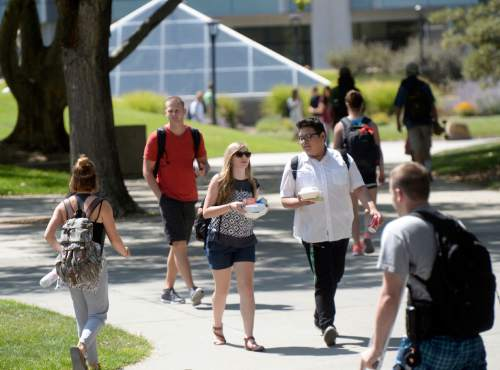 Al Hartmann     The Salt Lake Tribune Students at the University of Utah walk from classes to the Olpin Union building for the first day of Fall 2015 classes.