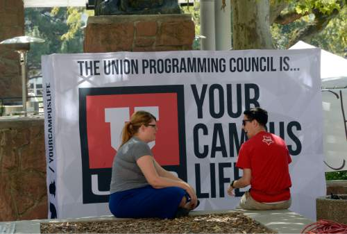 Al Hartmann  |  The Salt Lake Tribune Students at the University of Utah gather near the Olpin Union Building for the first day of Fall 2015 classes.