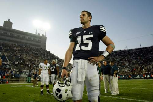 Photo by Chris Detrick  |  The Salt Lake Tribune  Brigham Young's Max Hall #15 after the game at Lavell Edwards stadium Saturday September 26, 2009. BYU won the game 42-23.