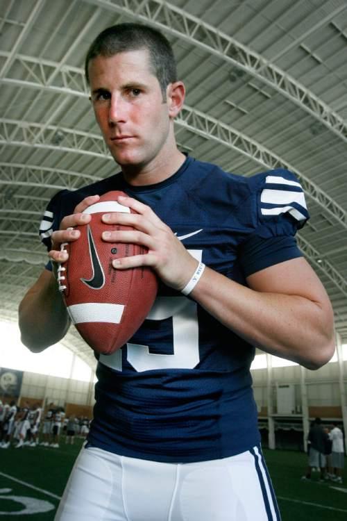 BYU PHOTO DAY BYU QB Max Hall (#15) - Thursday, 8/13/09. Scott Sherman  / The Salt Lake Tribune