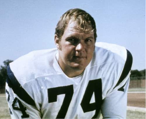 This 1970 handout provided by NFL Photos, shows Los Angeles Rams football player Merlin Olsen. Olsen, a Pro Football Hall of Famer and former television actor,  died Wednesday night, March 10, 2010, at a Los Angeles hospital. He was 69.  (AP Photo/NFL Photos)