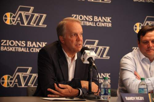 SALT LAKE CITY, UT - JUNE 26:  Trey Lyles and Olivier Hanlan of the Utah Jazz  speak at a press conference the day after the 2015 Draft at Zions Basketball Center on June 26, 2015 in Salt Lake City, Utah. NOTE TO USER: User expressly acknowledges and agrees that, by downloading and or using this Photograph, User is consenting to the terms and conditions of the Getty Images License Agreement. Mandatory Copyright Notice: Copyright 2012 NBAE (Photo by Melissa Majchrzak/NBAE via Getty Images)