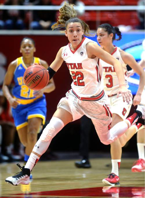 Steve Griffin  |  The Salt Lake Tribune   Utah Utes guard Danielle Rodriguez (22) charges up the court during game against UCLA at the Huntsman Center in Salt Lake City, Sunday, January 31, 2016.