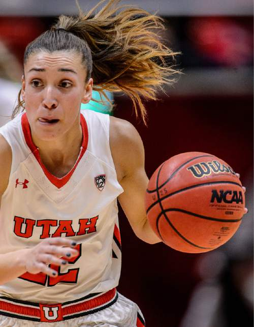 Trent Nelson  |  The Salt Lake Tribune Utah Utes guard Danielle Rodriguez (22) dribbles as the University of Utah hosts Washington State, NCAA women's basketball at the Huntsman Center, Saturday January 2, 2016.