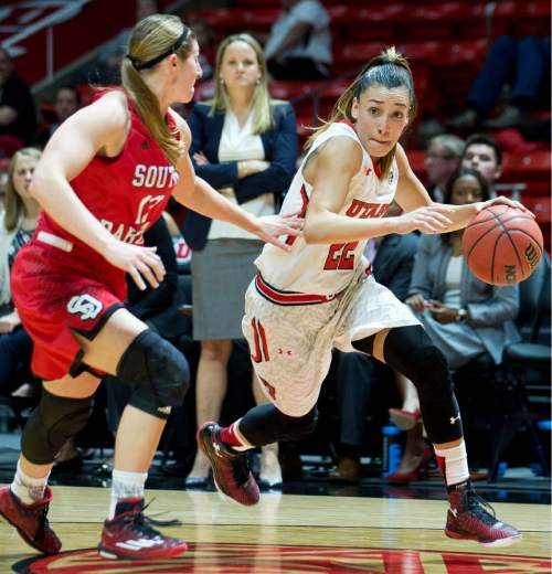 Lennie Mahler  |  The Salt Lake Tribune  Utah's Danielle Rodriguez drives by South Dakota's Jaycee Bradley in a game at the Huntsman Center in Salt Lake City, Friday, Nov. 13, 2015.