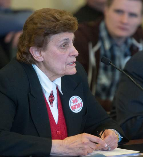 Rick Egan     The Salt Lake Tribune  Anne Wilde speaks to the House Law Enforcement and Criminal Justice Committee,about HB281, which makes changes to Utah's bigamy statute. Friday, February 19, 2016.