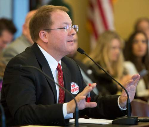 Rick Egan     The Salt Lake Tribune  Stan Shepp told the House Law Enforcement and Criminal Justice Committee that he lives with two wives, though he says he isn't legally married to either of them, as he spoke out against HB281, which makes changes to Utah's bigamy statute. Friday, February 19, 2016.