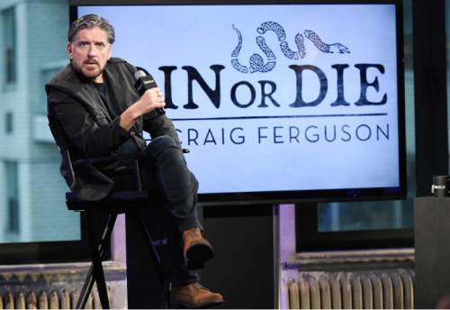 """Talk show host Craig Ferguson participates in AOL's BUILD Speaker Series to discuss the History Channel television show, """"Join or Die"""", at AOL Studios on Wednesday, Feb. 17, 2016, in New York. (Photo by Evan Agostini/Invision/AP)"""
