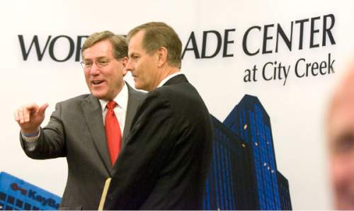 Paul Fraughton / Salt Lake Tribune President and CEO of Zions National Bank and Chairman of World Trade enter Utah, Scott Anderson, and Bishop Gary E.Stevenson, Presideing Bishop of the LDS Church  at the inauguration and open house of the World Trade Center at City Creek at 60 East South temple.   Wednesday, May 23, 2012