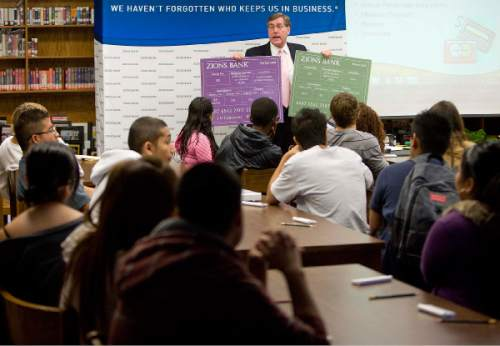 Trent Nelson  |  The Salt Lake Tribune Zions Bank CEO Scott Anderson will be addressing students at West High School  in Salt Lake City, UT, Tuesday, October 25, 2011 on the perks and pitfalls of credit.