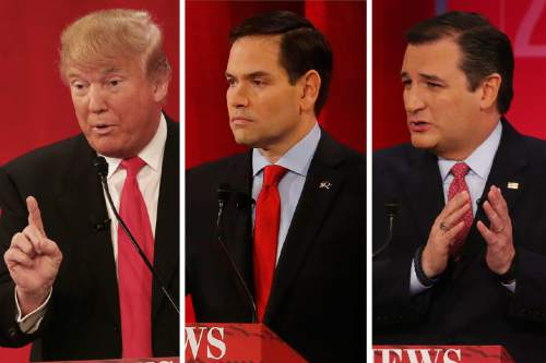 Republican presidential candidates Donald Trump, Marco Rubio and Ted Cruz during the CBS News Republican presidential debate at the Peace Center, Saturday, Feb. 13, 2016, in Greenville, S.C. (AP Photo/John Bazemore)