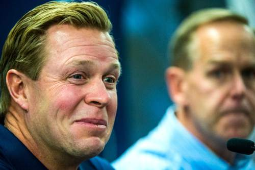 Chris Detrick  |  The Salt Lake Tribune Cougar football head coach Bronco Mendenhall laughs during a press conference at Brigham Young University Saturday December 31, 2011.  Mendenhall signed a five-year contract with the University of Virginia that will pay him $3.25 million annually, estimated to be more than three times the money he makes coaching BYU.