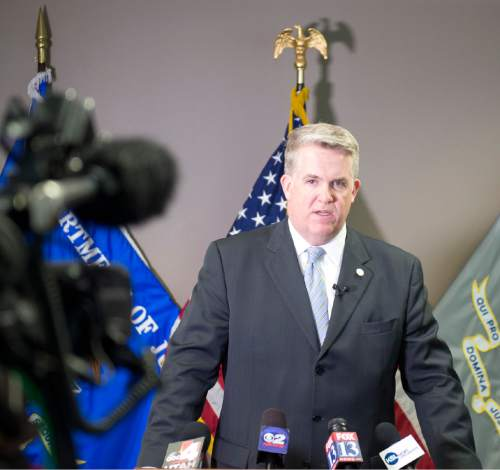 Lennie Mahler  |  The Salt Lake Tribune  John Huber, U.S. Attorney for Utah, addresses the media in Salt Lake City, Tuesday, Feb. 23, 2016, regarding the indictment of FLDS leaders in Short Creek on counts of SNAP benefits fraud.